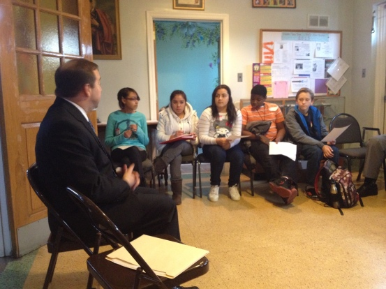 Students meet with Camden County Freehold Louis Cappelli, Jr. and ask him to take action to make their neighborhoods safer.