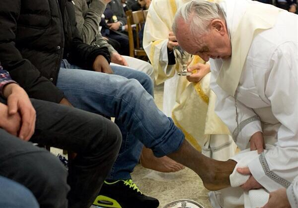Pope Francis washes the feet of inmates at a juvenile prison in Rome.