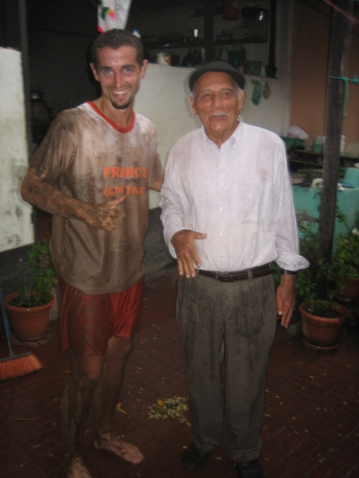 After a muddy soccer game.