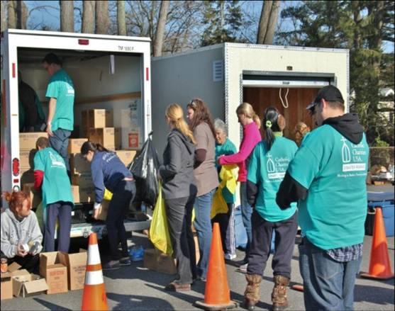 Catholic Charities volunteers.