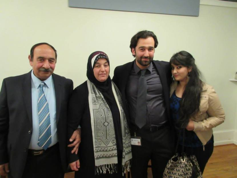 Moustafa and his family after the presentation.